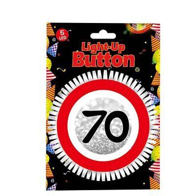 LED Blink Button zum 70. Geburtstag Geburtstags Dekoration Tischdeko Party Deko