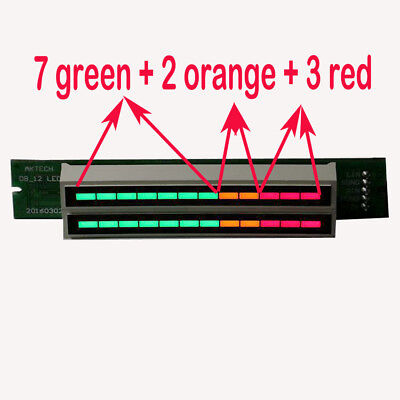 Dual 12 Led Level Indicator Vu Meter Music Sound Audio Display Analyzer Diy