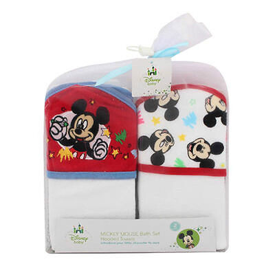 Used, 2-PACK Disney Baby Mickey Mouse Baby Bath Hooded Towels Gift Set White Red NEW for sale  USA