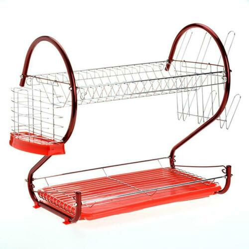 2Tier Dish Cup Bowls Drying Rack Stainless Steel Drainer Kit
