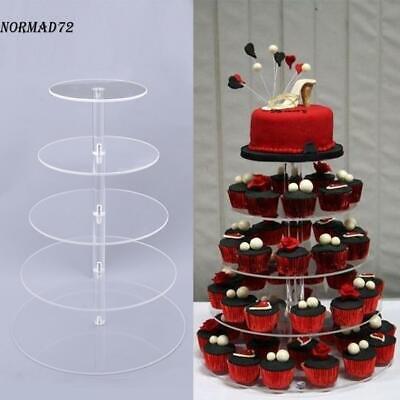 5 Tier Round Cake Stand Acrylic Wedding Birthday Display Cupcake Tower ND71
