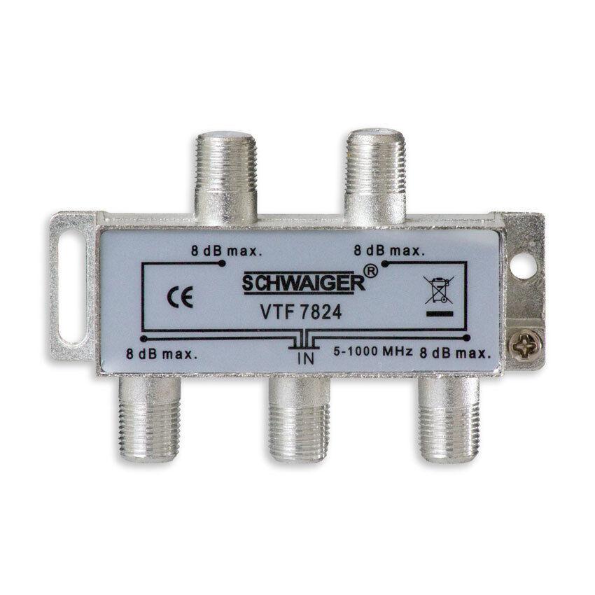 TV Antennen Verteiler 4-fach Splitter SAT Koaxialkabel 5x F-Stecker Adapter 8db