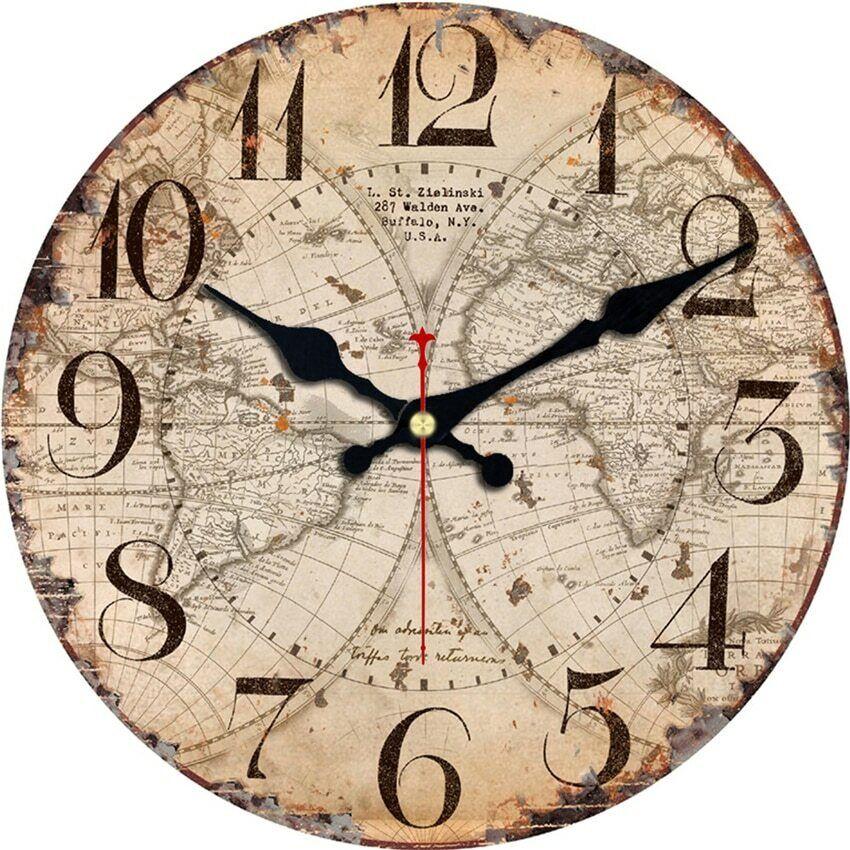 World Map Sailboat Design Silent Clock Antique Clocks Home D