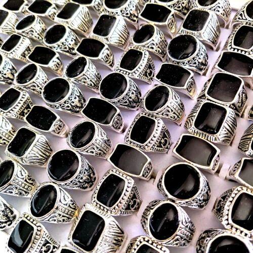 30pcs Shapes Mix Black Enamel Silver Tone Vintage Alloy Rings For Men & Women