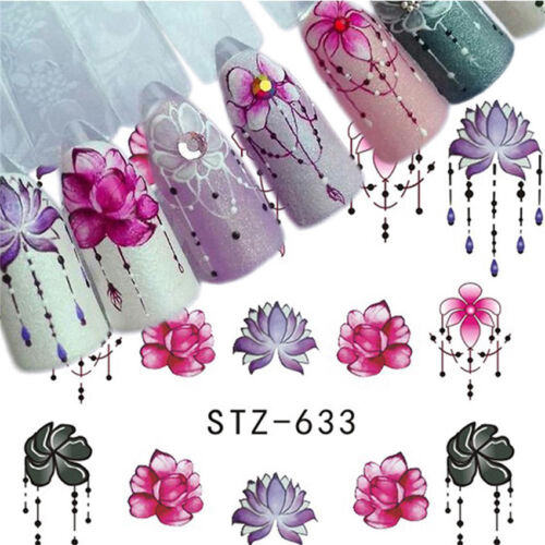 5 Sheets Nail Art Stickers Flower DIY Water Transfer Beauty Decals Set Pretty