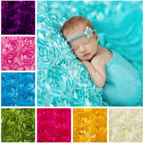 New 3D Rose Flower Backdrop Blanket Infant Photography Props Rug Baby Photo US