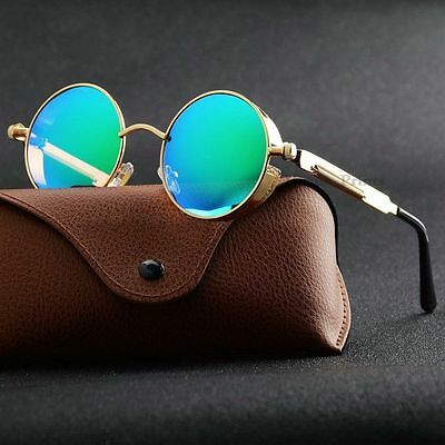 New Vintage Polarized Steampunk Sunglasses Fashion Round Mirrored Retro Eyewear
