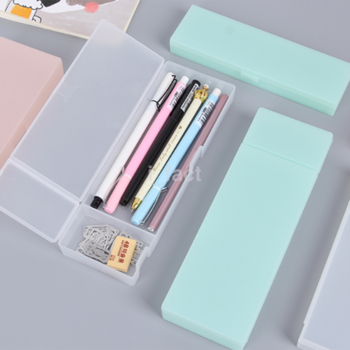 HOT Frosted Transparent Plastic Pencil Case Pen Box Holder Kids School Supplies