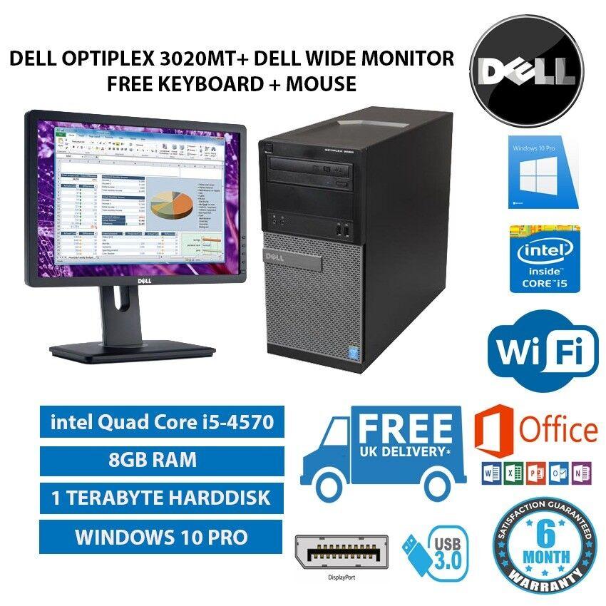 POWERFUL DELL OptiPlex MT 3020 intel Quad Core i5-4570 3.20 GHz 8GB RAM 1TB HDD + extras