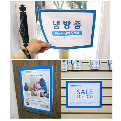 Pocket Pad A4 Self Adhesive Picture Frame Clip like Whiteboard - Blue Border