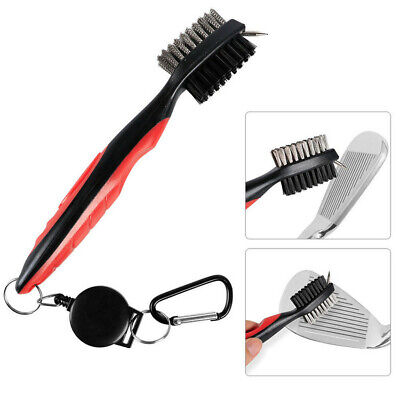 Golf Brush and Club Groove Cleaner - Easily Attaches to Golf Bag - Red US Stock - Club Cleaner