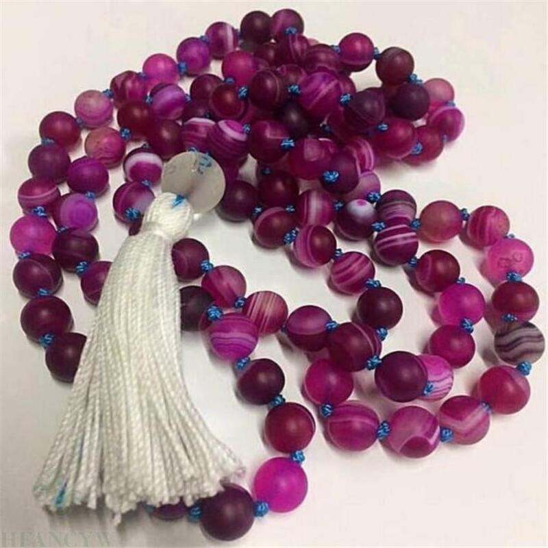 8mm Purple striped agate 108 Beads Tassels Mala Necklace Wrist natural Gemstone