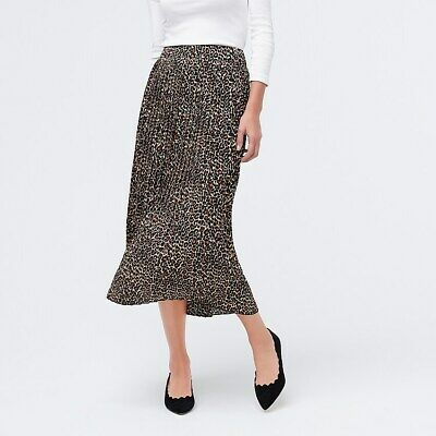 J.CREW FACTORY NWT $80 Pleated Midi Skirt Tiber Leopard Black Khaki Size 4 Black Khaki Skirt