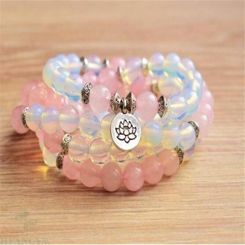 6mm Moonstone Pink crystal Gemstone 108 Beads Mala Bracelet Sutra Meditation