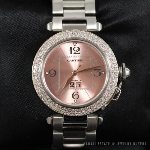 CARTIER PASHA PINK DIAL STAINLESS STEEL AUTOMATIC #2475 DIAMOND LADYS WRISTWATCH
