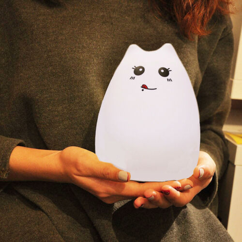 Cute Silicone Cat LED Night Light Creative USB Recharge Lamp 7 Color Changing