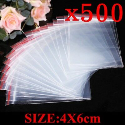 500pcs 4x6cm Small Ziplock Clear Poly Bag Reclosable Plastic Jewelry Baggies New