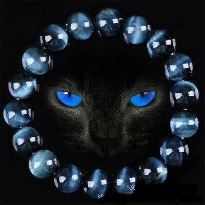 12mm Blue Tiger Eye Bracelets Men Natural Stone Beads Charm Bracelet - Blue Beaded Bracelets