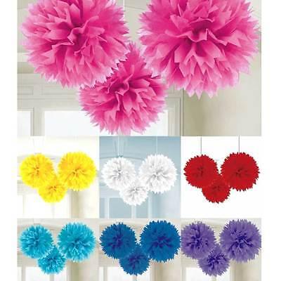 3x Pompom XL 40cm Papier Blume basteln Geburtstags Hochzeits Dekoration NEU