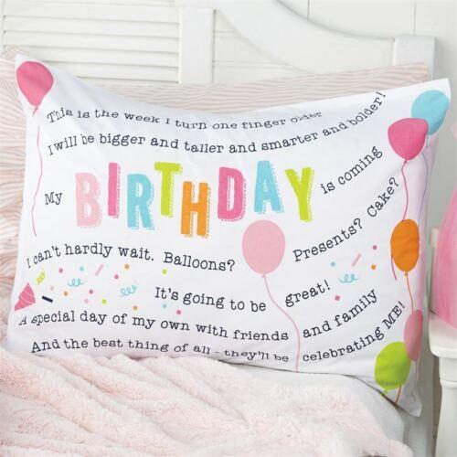 Mud Pie Little Girl Happy Birthday Celebration balloons Cotton Pillow Case NEW
