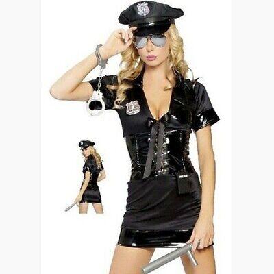 Sexy Costume Poliziotta Nero Con Inserti Effetto Pelle Hot Travestimento Donna