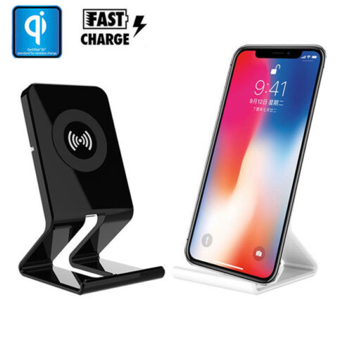 Qi Wireless Charger Desktop Fast Charging Stand Dock Pad Holder For iPhone X 8