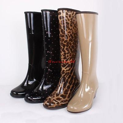Ladies  Womens wedge heel Rain Boots Rubber 4 style Wellies Mid-Calf boots
