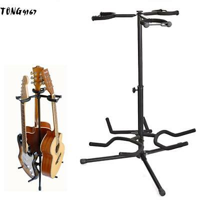 Professional Double Dual Acoustic Electric Guitar Bass Tripod Stand Holder CM053