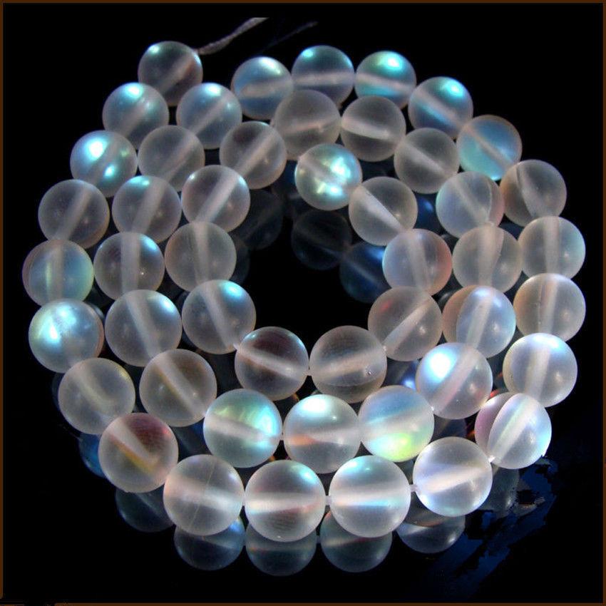 8mm 10mm 12mm Blanco Natural gleamy Arco Iris Gemas redonda suelta granos AAA