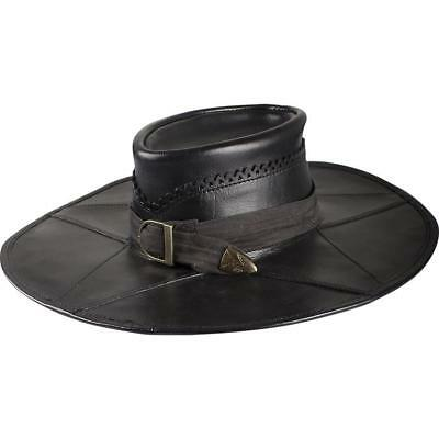 RENAISSANCE FANTASY Genuine Brown Black Leather Unisex WITCH HUNTER HUNTSMAN HAT](Brown Witch Hat)