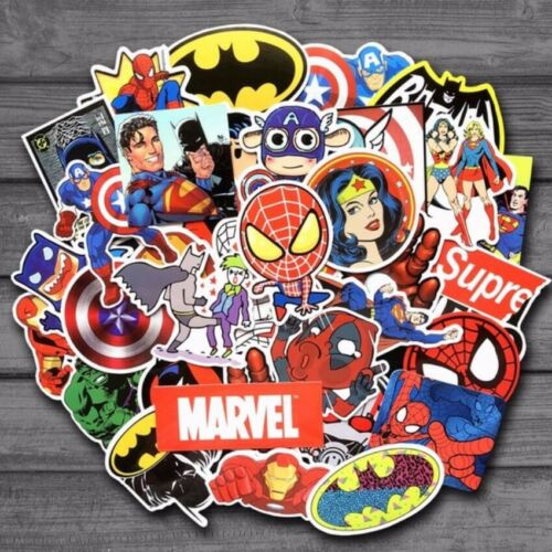 Home Decoration - 50 Marvel/DC Superhero Stickers Decorate Laptop Phone Books Tablets Partybag