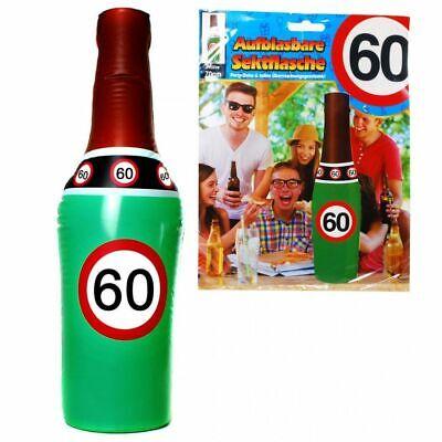 Aufblasbare Sektflasche 60. Geburtstag Dekoration Party Deko Scherzartikel 70 cm