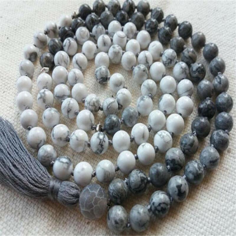 8mm White Grey Howlite Mala necklace Tassel 108 Beads Gemstone yoga Unisex Wrist