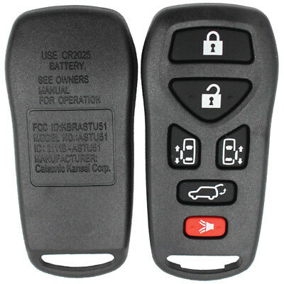 New 6 Button Keyless Entry Remote Shell Case + Pad for Nissan Quest 2004 -2010