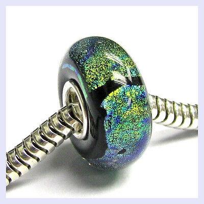 Sterling Silver Turquoise Gold Foil Glass Murano Bead f/ European Charm Bracelet