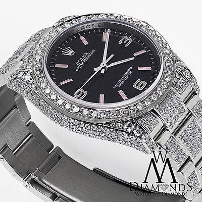 Rolex Oyster Perpetual 36mm Black w/ Pink Custom Added Diamonds Watch 116000
