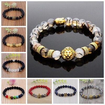 Charm Men Black Lava Stone Gold Silver Owl Helmet Buddha Beaded Fashion Bracelet - Beaded Charm Bracelets