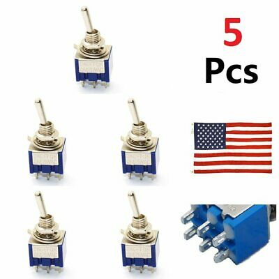 Toggle Switches 5 Pcs 3 Position Mini Mts-203 6-pin Dpdt On-off-on 6a 125vac