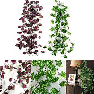 (7.87FT Ivy Leaf Garland Green Plant Plastic Vine Foliage Home Garden Decoration)