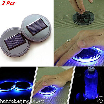 Car Solar Energy Cup Holder Bottom Pad Blue Led Light Mat Trim Atmosphere Light