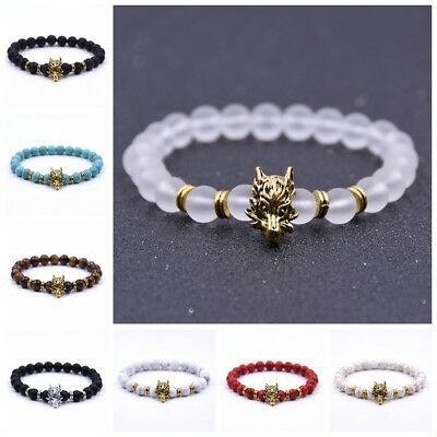 Turquoise Silver Mens Bracelets - Fashion Man Lava Stone Turquoise Silver Gold Dragon 8mm Gemstone Beads Bracelets