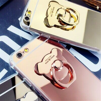 Chrome Standing Mirror (Cute Chrome Mirror Bear Ring Loop Stand Soft Case Cover For Apple iPhone X 8 7 )