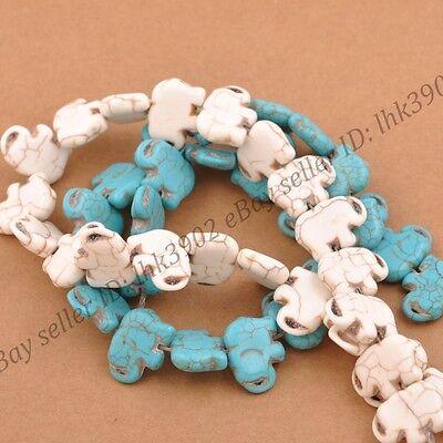 1Strand Howlite Turquoise Gemstone Side Ways Flat Elephant Loose Beads - Elephant Beads