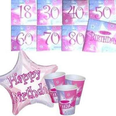 Geburtstags SET PINK SHIMMER Einweg-Geschirr Wunschzahl PARTY Stimmung rosa
