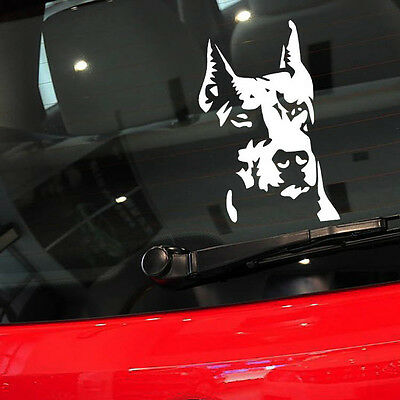 Auto Door/Window/Rear Trunk Pet Doberman Dog White Reflective Decal Car Sticker