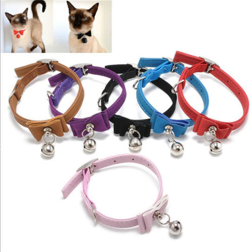 1PC Cat Kitten Soft Collar Adjustable Pet Safety Buckle bow Neck Strap With Bell