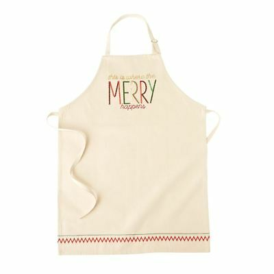 "Mud Pie Christmas Apron ""This is where the Merry happens""  37"" x 28""  NEW"