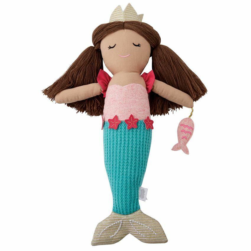 Mud Pie Baby/Toddler Girl Blue Tail w/ Brown Hair  Mermaid