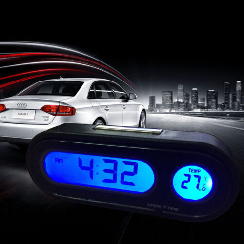 Hot Car Auto Digital LED Electronic Time Clock Thermometer With Backlight