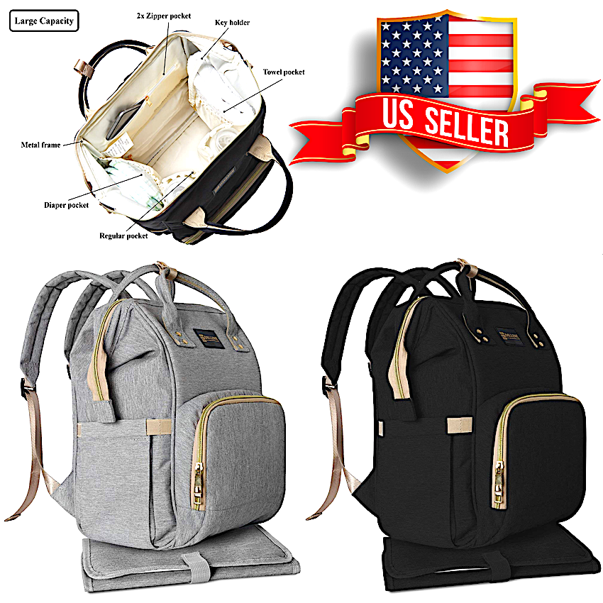 Dilline - Diaper Bag Backpack Waterproof Travel  Nappy Baby Care Large Capacity